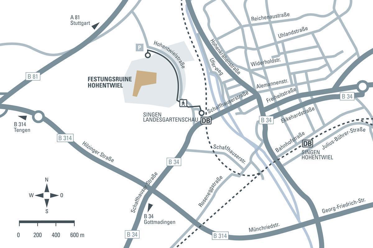 Anfahrtsskizze zur Festungsruine Hohentwiel