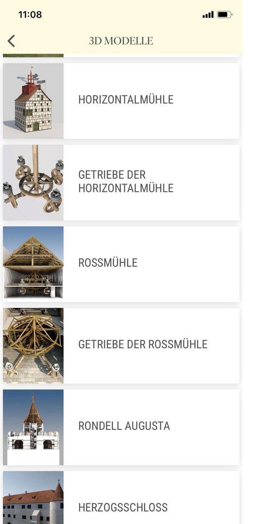"""Die Navigation der """"Monumente 3D""""-App ist übersichtlich gestaltet"""