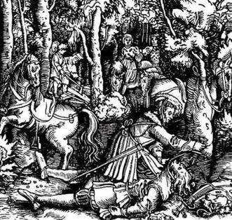 Die Ermordung Hans von Huttens durch Herzog Ulrich, Holzschnitt von Ulrich von Hutten