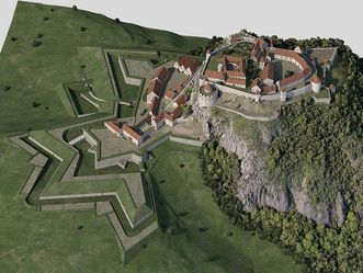 Digitales Modell der Festungsruine Hohentwiel in der Draufsicht